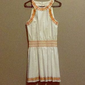 Tory Burch White drop waist embroidered dress